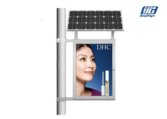 Single Pole Solar Light Box Poster Advertising Staion Green Power 45W Solar Panel