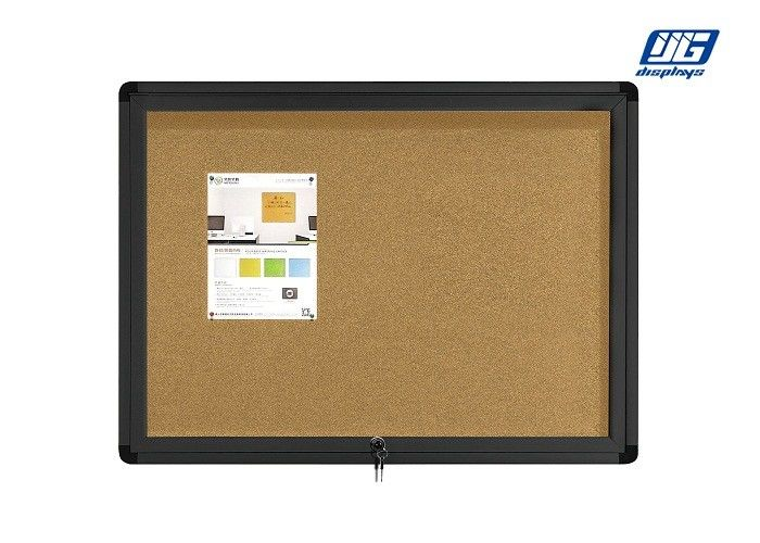 Black Frame Lockable Poster Cases Cork Back Board Round Corners Short Note Display