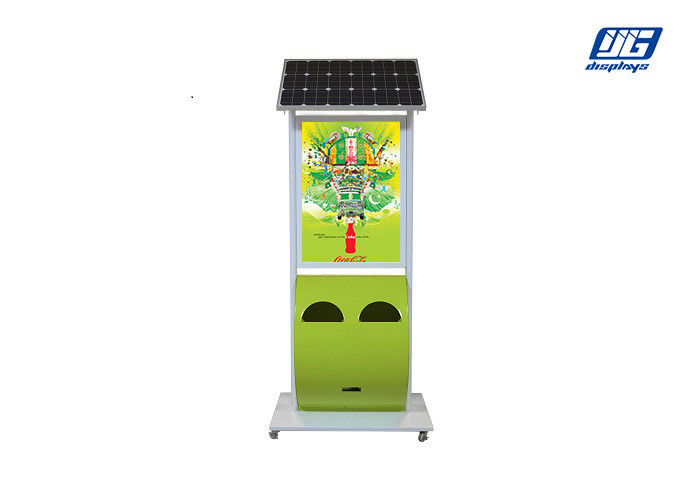 White Steel Frame Adjustable Trash Solar Powered Light Box Floor Standing