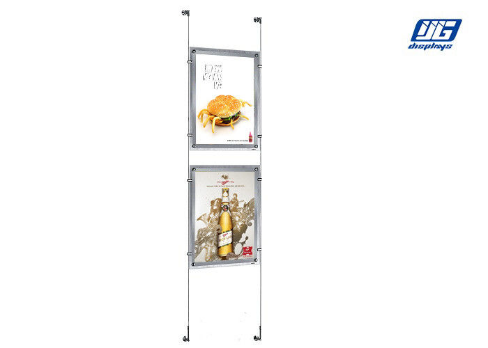 10mm Clear Crystal LED Light Box , Acrylic Frame A2 Poster Size Stainless Steel Wire Hanging Light Box